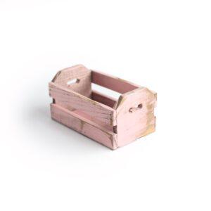 Caixotinho Mini de madeira para cenário Cor 02 - Rosa pastel