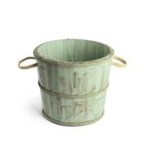 Baldinho de madeira rústico Mini Cor 25 - Verde pastel