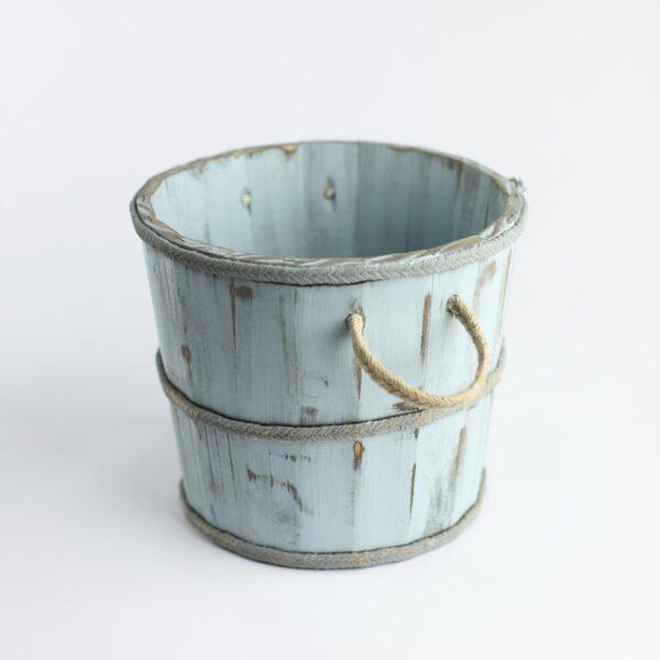 Baldinho de madeira rústico Mini Cor 34 - Azul clarinho