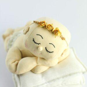 Headband  de flores rústica Amarelo