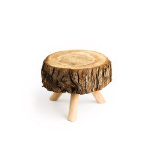 Tronquinho de madeira rústico com pé Natural  P