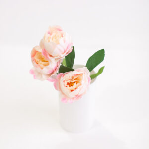Arranjo floral trio Peônia Rosa