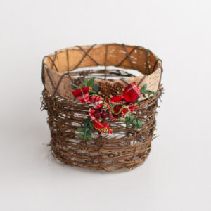 Cestinho rústico de natal Marrom  M
