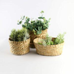 Vasinhos de palha - Kit com 3 unidades Natural