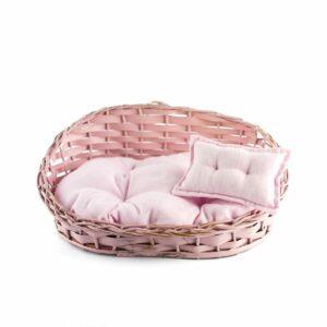 Sofazinho de vime com futton Cor 02 - Rosa Pastel