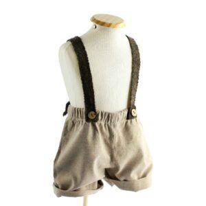 Shorts c/ suspensório Cinza  9 a 12 meses