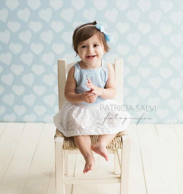 Fundo fotográfico coração I Azul  G
