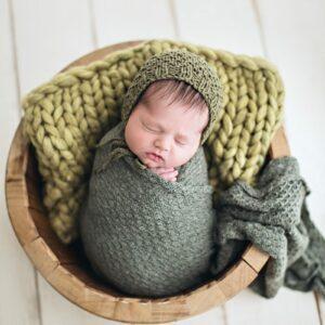 Wrap texturizado de lã Verde musgo