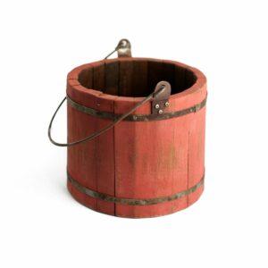 Baldinho de madeira com alça de ferro Cor 31 – Terracota
