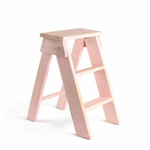 Escadinha de madeira Cor 08 - Rosa clarinho