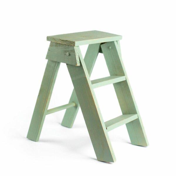 Escadinha de madeira Cor 25 - Verde pastel