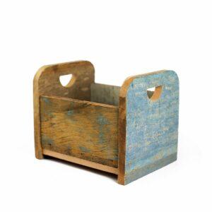 Bercinho de madeira de demolição Mini - Modelo I Azul