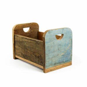 Bercinho de madeira de demolição Alto - Modelo II Azul