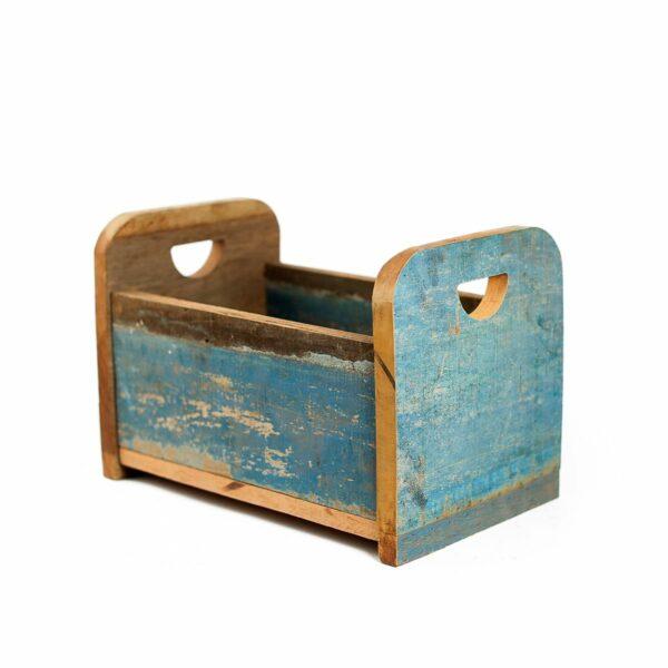 Bercinho de madeira de demolição Alto - Modelo V Azul