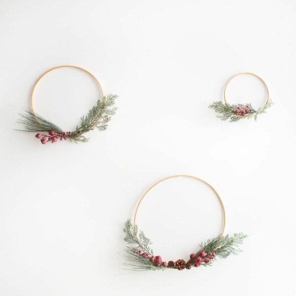 Kit com 3 arcos de natal - cereja nevada Verde